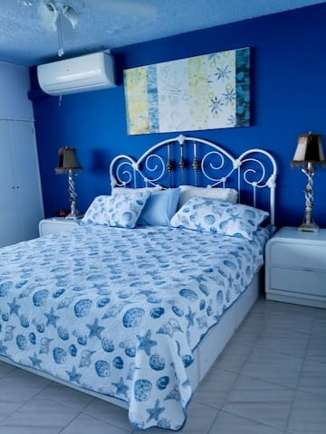 Bedroom with king-size mattress and room AC unit