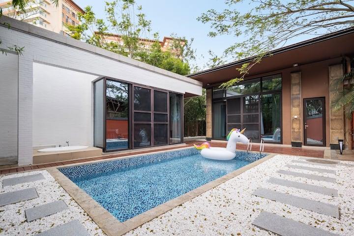 近海棠湾两居室三床一张1.8米和两张1.2米床可拼接&海边五分钟&网红打卡