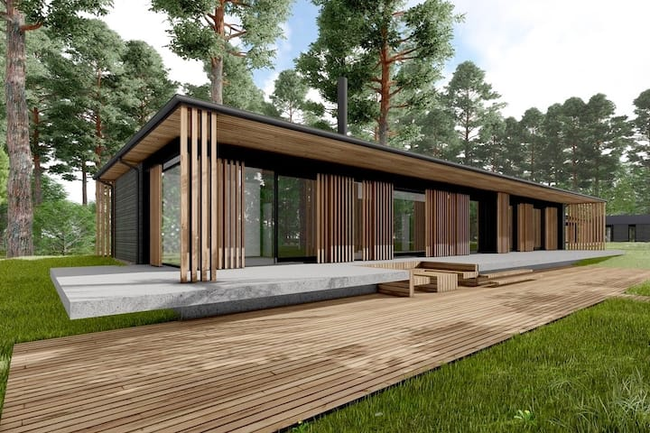 LakeVilla. Waterfront Retreat in Pine-Tree Forest.