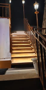 Stairs to the reception and entrance.