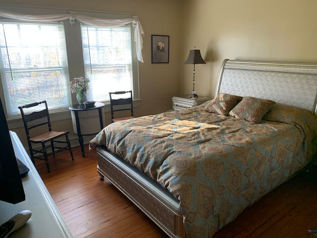 A second smaller bedroom for overflow family members or other guests. Flat TV in every bedroom with Direct TV and WIFI throughout our Mansion.