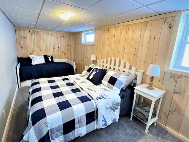 Bedroom # 4 - Full bed and Trundle bed with 2 twin mattresses. Located on lower level of House. Adjoins with bedroom #3