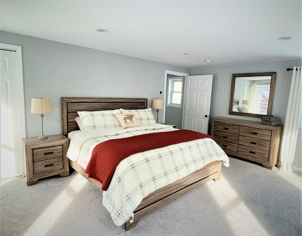 Master bedroom - king bed. Located on upper level of house.