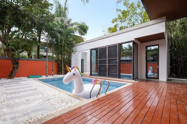 两房轻奢现代独栋泳池别墅\订房配车\近免税店\亚特兰蒂斯\海棠湾