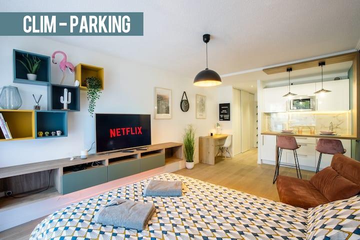 🦩Studio terrasse & parking  2/3 pers proche centre