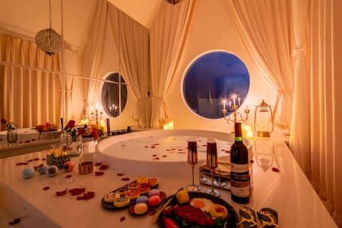 【孔雀亭】超大仪式感浴缸#摩洛哥#超美夜景#loft#可做饭#近告庄#设计师民宿
