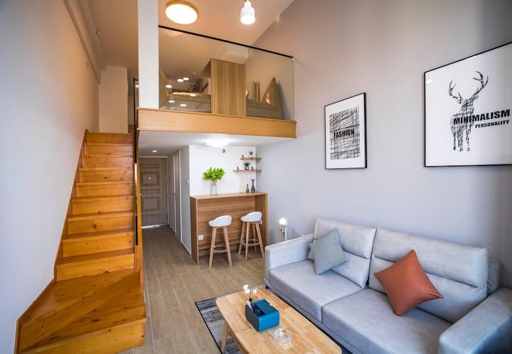 海口湾/保利中央海岸/万绿园/秀英港/世贸简约舒适北欧loft复式一居室