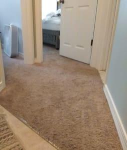 """Hallway to 2 bedrooma and the bathroom.  exactly 36""""- Bathroom door is 23"""" wide bedroom doors are 29.5"""""""