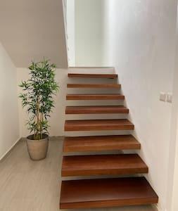 escalera de entreda/entrance staircase.