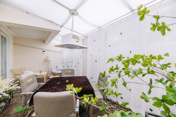 「甜梦居」麻将阳台|投影仪|十字街500米|舒适三居|丽景门旁|洛邑古城|独立客厅|干净卫生