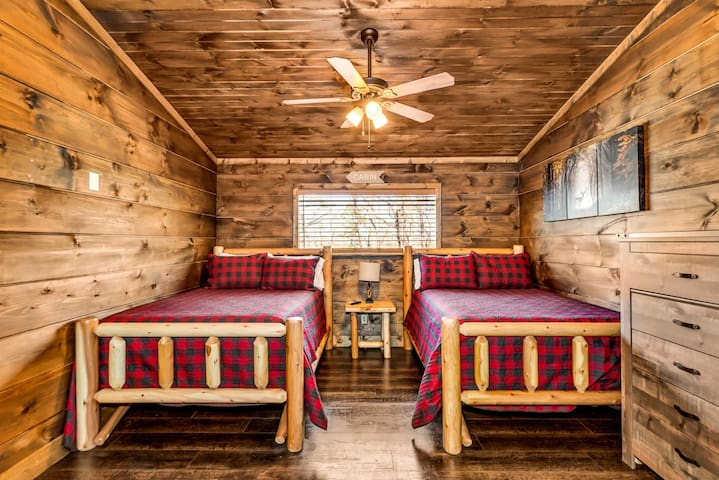 Upstairs Bedroom with two full beds and a full bathroom