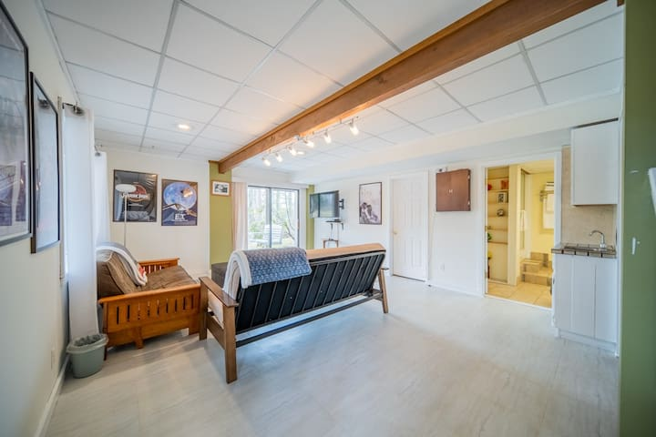 """Basement has two full size futons and a 50"""" Samsung smart TV. There is a sliding glass door out to a patio with porch swings and just a few steps to our private dock."""