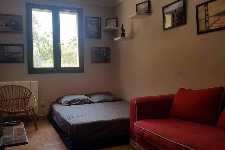 Deuxième chambre jusqu'à  3 personnes comprenant 1 lit double (140x200), 1 Canapé convertible en  (120x180), TV, WIFI et vue imprenable sur les montagnes.