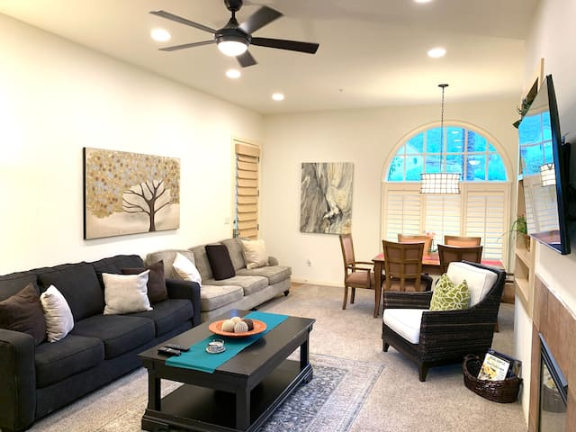 """Living room and Dining with Samsung  55"""" 4k Smart TV"""