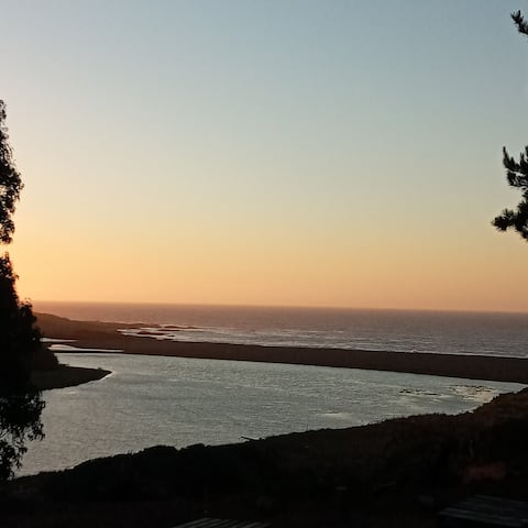 Pelluhue accommodation, ocean view and down to the river