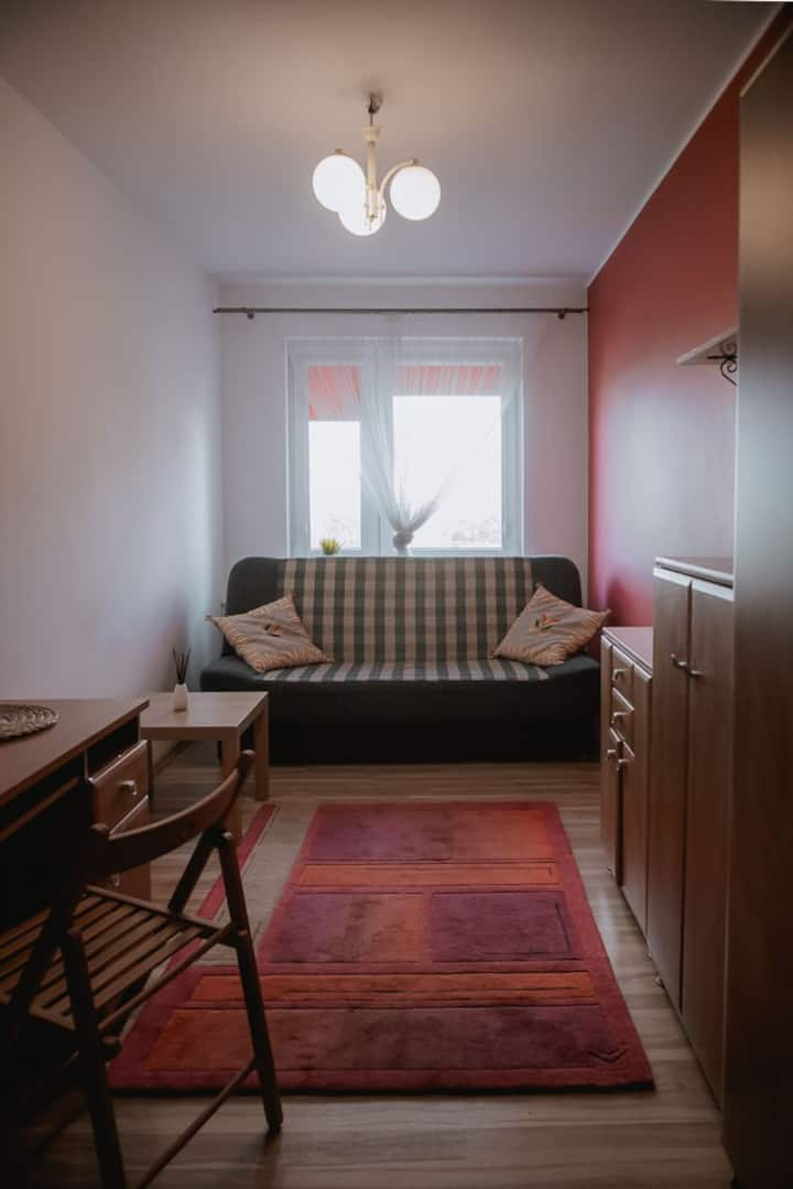 Ładny pokój w mieszkaniu z kuchnią i łazienką