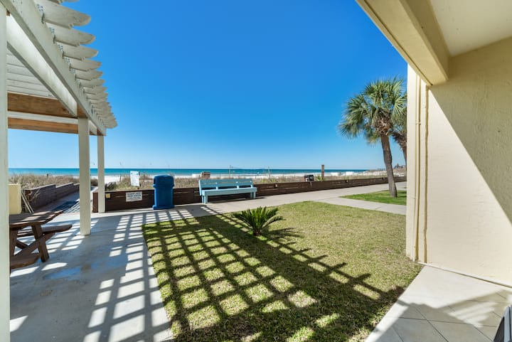 New Listing! Walk out the back door to the beach! Across from Gulf World.