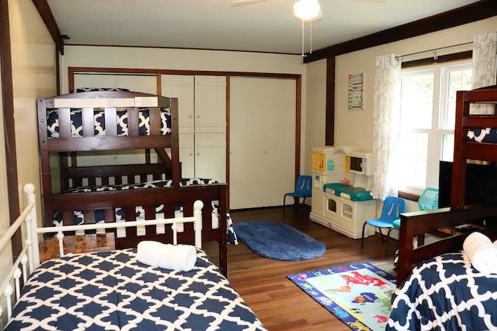 BR #2 main level-two bunk beds, twin over full, full day bed with trundle