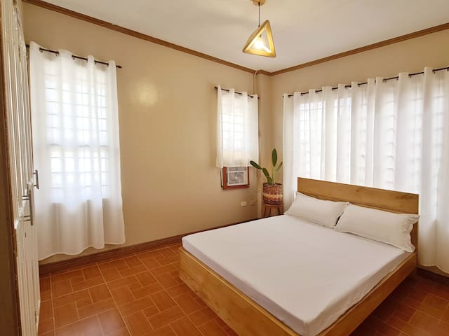 Airconditioned Bedroom 3 has Double Sized bed. An extra leatherette floor mattress will be available for extra guest.