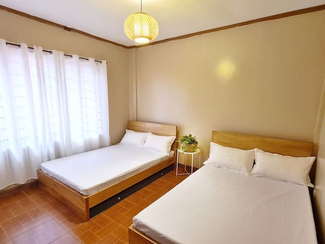 Non-airconditioned Bedroom 2 has 2 Double Sized bed. An extra leatherette mattress will be available for extra guest.