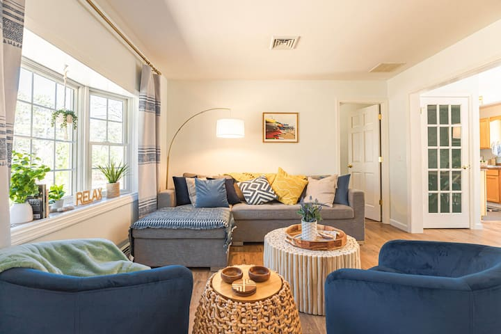 Sunny open living room with cozy sleeper sofa