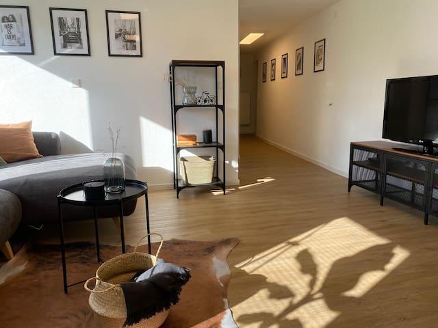 Wohnbereich mit gemütlicher, großer Couch, Smart-TV, Fire-TV-Stick mit Amazon Prime