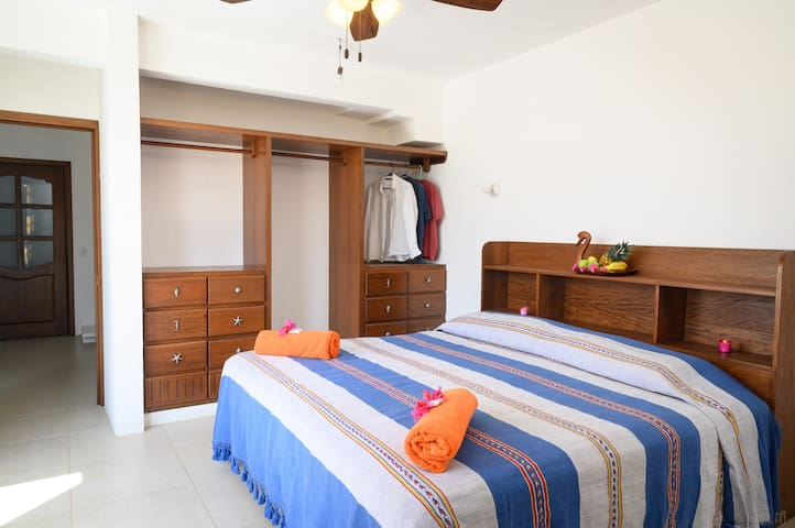 Second bedroom with king size bed and ensuite bathroom