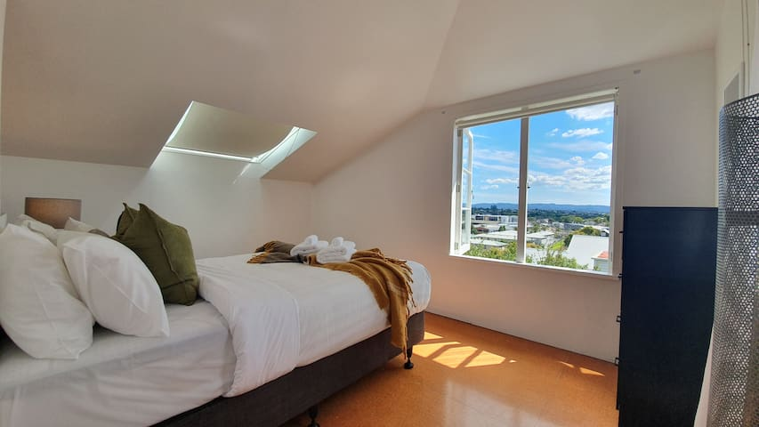 The upstairs bedrooms have views of the inner city  suburbs.