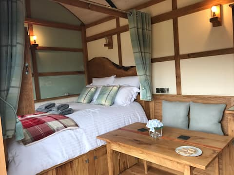 The Orient Express Shepherd's Hut with Hot Tub