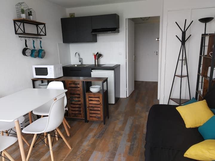 Studio cabine petite vue mer balcon refait à neuf