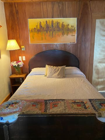 Full bed with antique frame