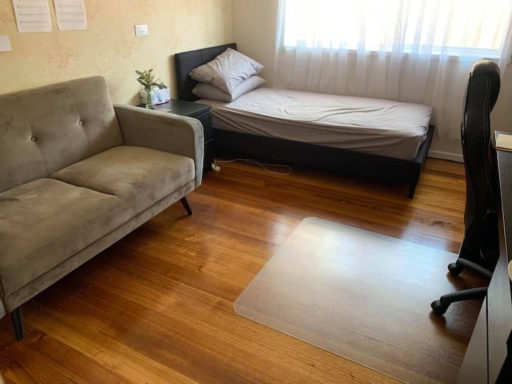 Modern and fully furnished bedroom in Moorabbin