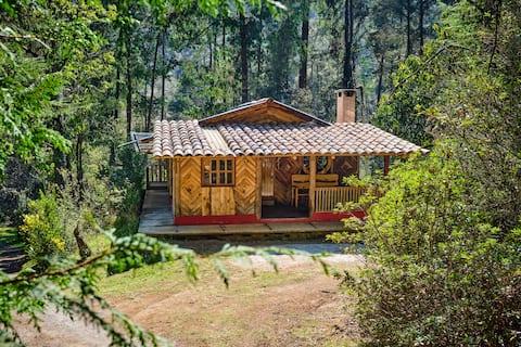 Hermosa cabaña para enamorados en medio del bosque