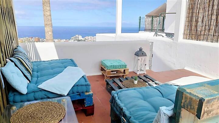 tranquilo apartamento con vistas al mar