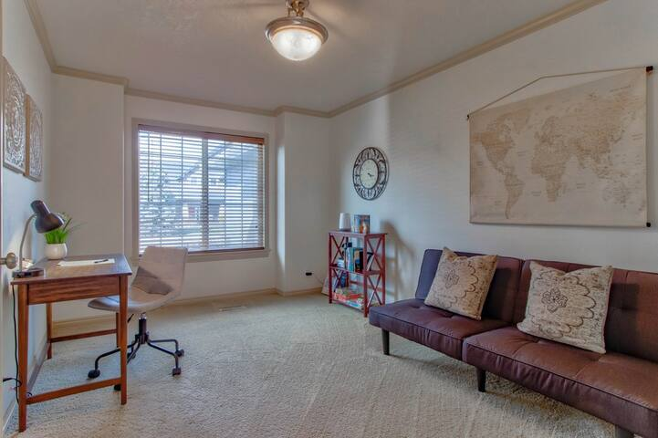 Our office features a desk and comfy chair if you need to work during your stay. The futon also offers additional sleeping space if you have a large group.