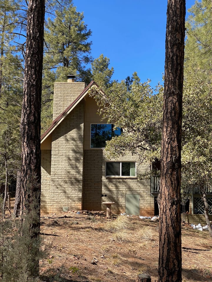 Cabin with  large Deck in thick Tonto Forest