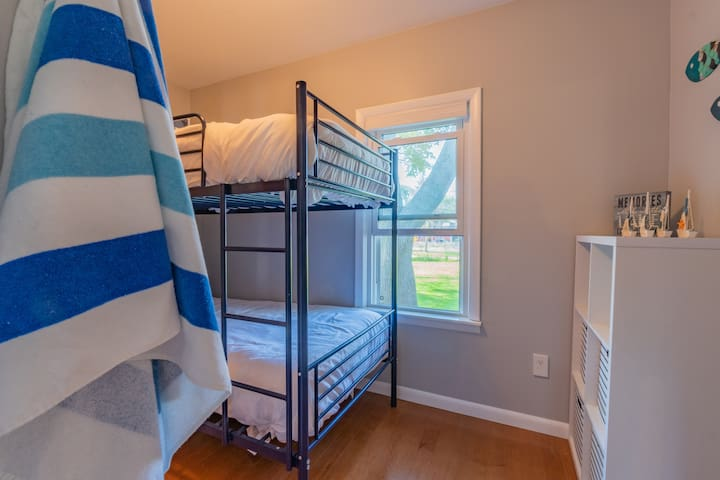 The third bedroom has a twin bunk bed.