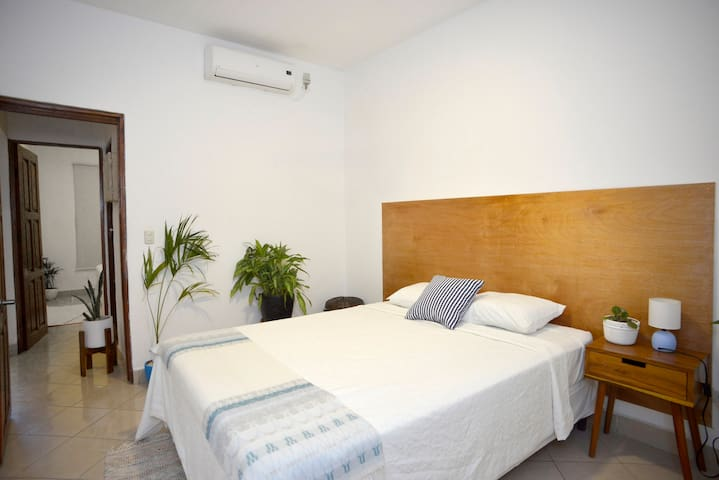 Second bedroom with queen bed & aircon