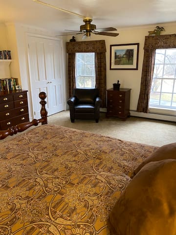Spacious and airy second floor bedroom with  a key locked door.