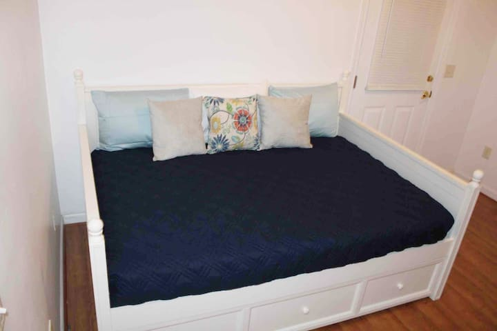 Bedroom 2 includes a full size bed with a trundle twin size bed that pulls out from the bottom and a large closet. (no t.v.)