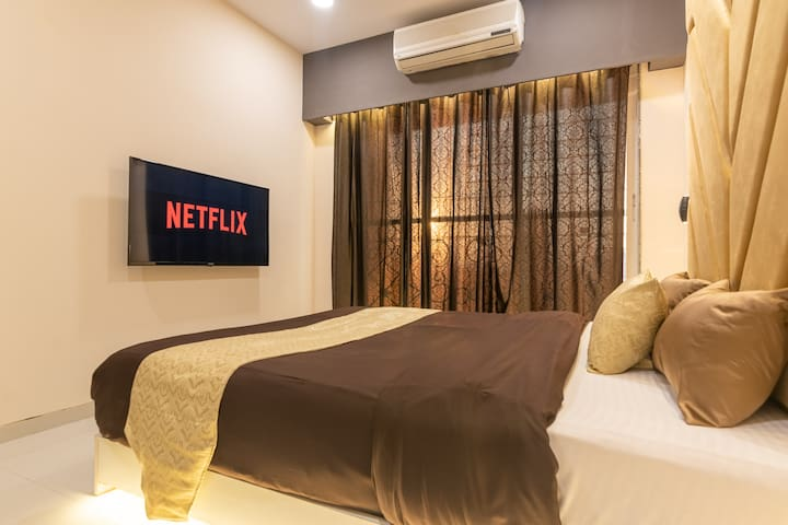 The bedroom has a 42 inch LED TV with Netflix, Amazon Prime, and more to keep you entertained during your stay
