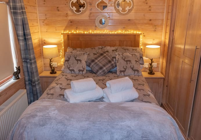 master bedroom. very comfortable bed, plenty of wardrobe space where you will find extra bedding, pillows & throws, hairdryer for your use, dressing table and stool, leads to a beautiful en suite, powerful shower, sink, WC and heated towel rail