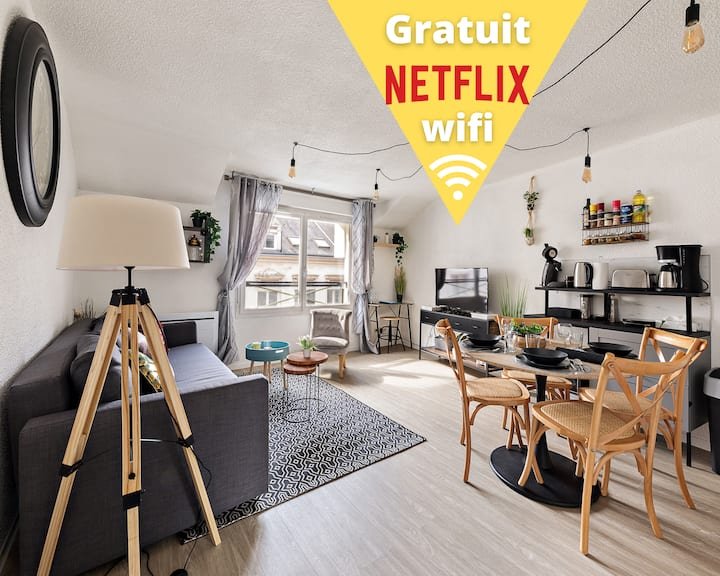 ★Stanford★Cosy-CentreVilleRouen★Netflix-Wifi★4Pers