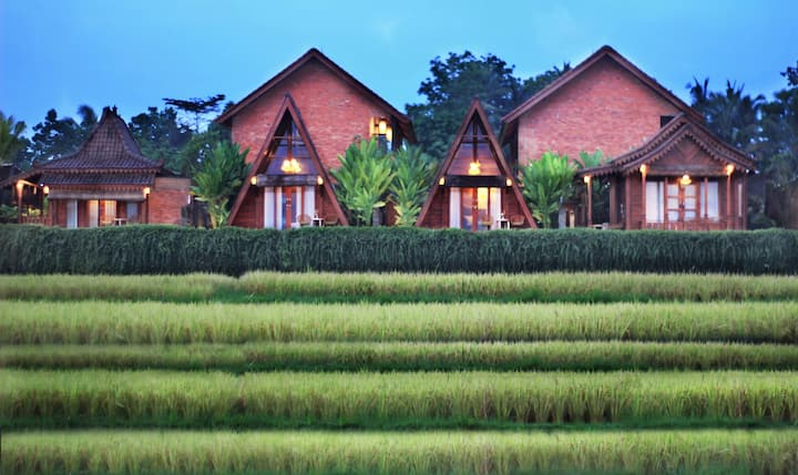 Villa with private rice field view balcony Ubud