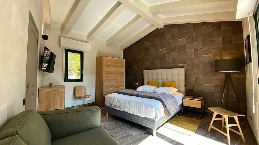 Chambre n°1, 25m2, équipée d'un grand lit double en queen size (160x200), climatisation, canapé, télévision et terrasse privée.