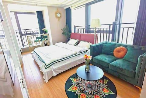 『42层江景』Vintage绿色系,用一扇落地窗留住流动的时光&智能家居Club&轻奢复古&近衣裳街