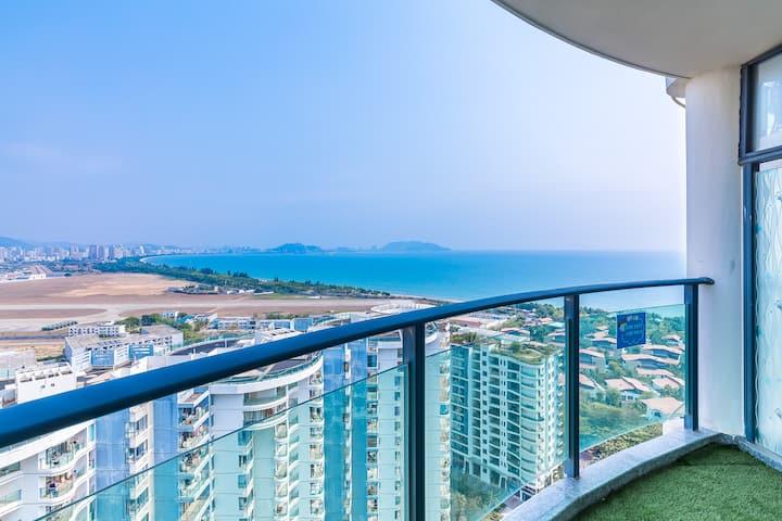 三亚海边美丽新海岸看海两居室+全玻璃景小卧可住4人温馨套房(近海/近机场/可洗衣做饭)