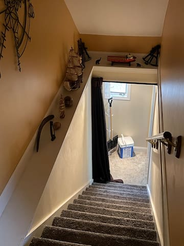 Stairs from apartment to private parking