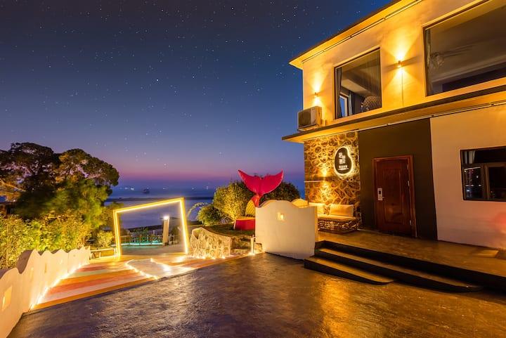 珠海桂山岛/俯瞰碧海蓝天/日出日落观景台/家庭套房/码头免费接送/三房一厅