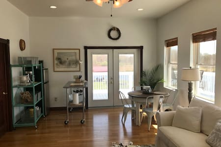Double French doors can open for a wide entry.